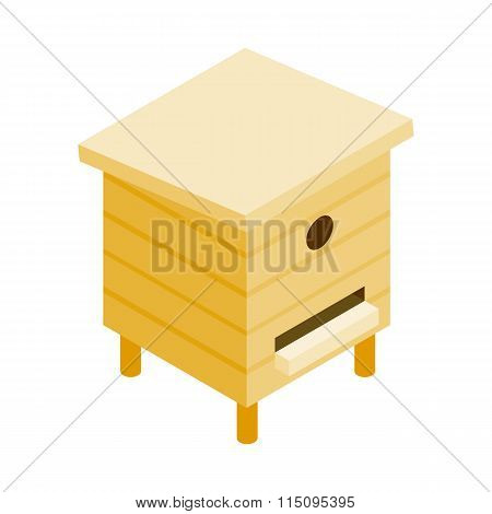 Wooden beehive isometric 3d icon