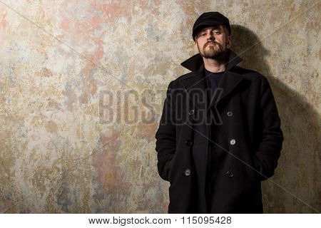 Cool Guy Rocks Coat  And Newsboy Cap