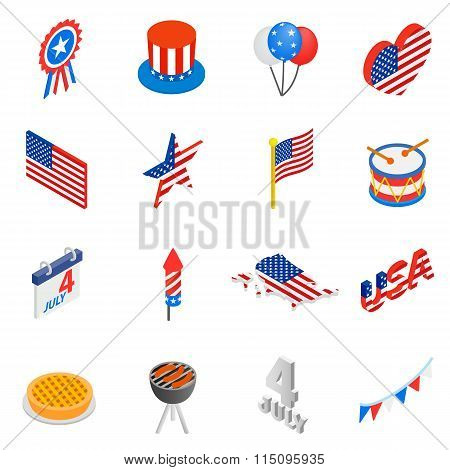 Independence day isometric 3d icons set. Independence day icons. Independence day icons vector. Independence day icons art. Independence day icons collection. Independence day set. America set