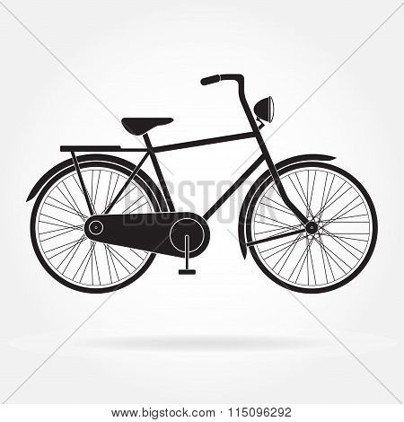 Bicycle icon. Retro styled or vintage image of bicycle. Vector illustration.