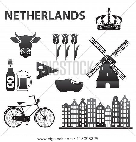 Netherlands icon set. Holland and Amsterdam symbols: wind mill, tulips, bicycle, beer. Vector.