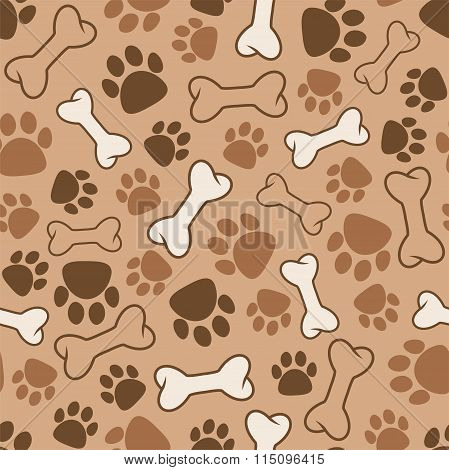Vector Seamless Dog Pattern