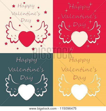 Vector Set Of Happy Valentine Day Cards