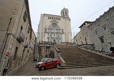 Girona, Spain - August 30, 2012: The Cathedral Of Saint Mary Of Girona