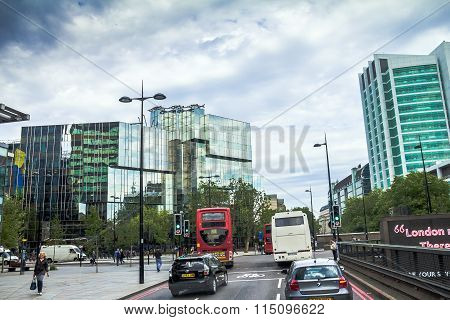 Intensive Traffic On One Of The Streets At Westminster District. London