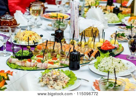 Japanese Food And Salads At The Banquet Table