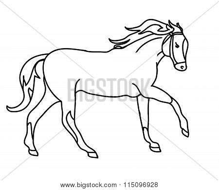 The Silhouette Of A Horse Gallop (black Outline)
