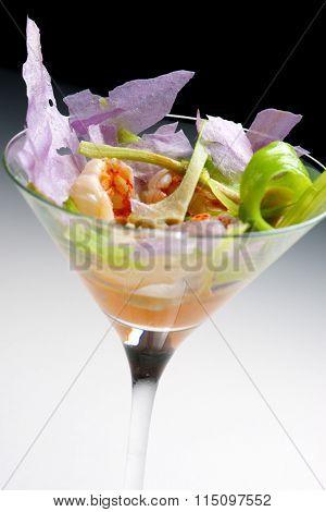 Prawn cocktail served in a crystal goblet.