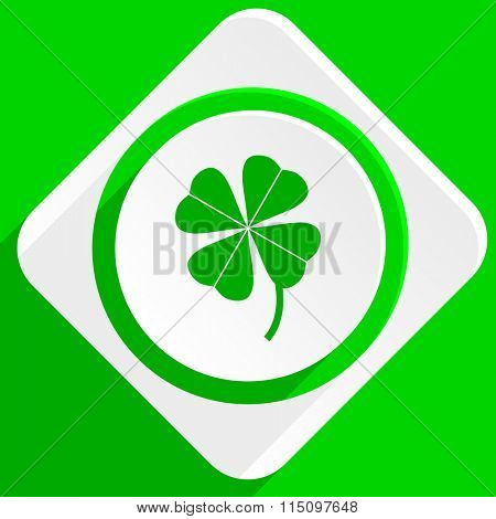 four-leaf clover green flat icon