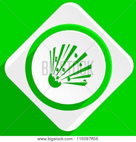bomb green flat icon