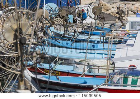 Fishing Boats In A Port Of Protaras Near Ayia Napa, Cyprus