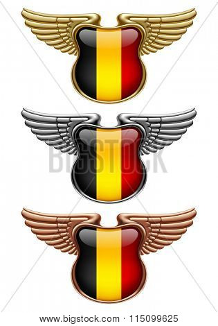 Gold, silver and bronze award signs with wings and Belgium state flag