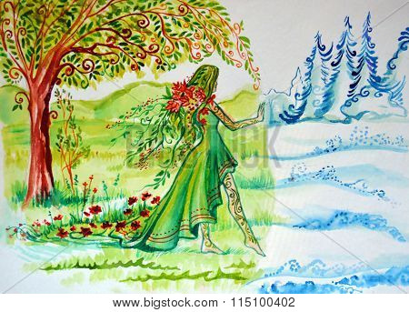 Illustration of abstraction shifts. The woman symbolizing summer comes and brings the greenery