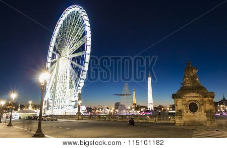 Place De La Concorde In Evening, Paris, France.