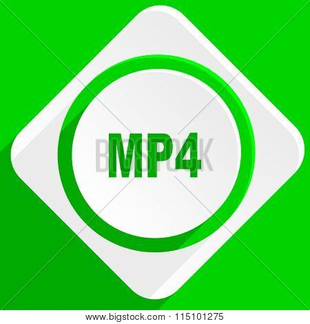 mp4 green flat icon