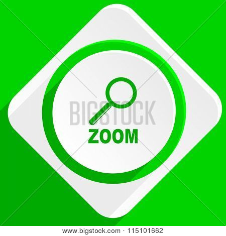 zoom green flat icon