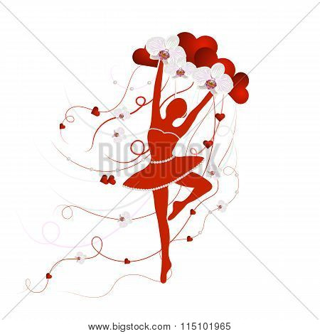 Tender ballerina holding an arrangement of orchid flowers and love hearts with ribbons