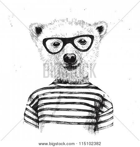 Hand drawn Illustration of dressed up hipster bear  in glasses