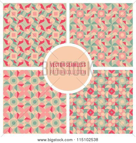 Vector Seamless Pink Teal Geometric Retro Square Pattern