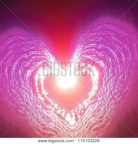 abstract heart of the stars on a dark background