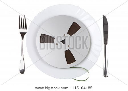 Plate With A Tape Recording With Knife And Fork