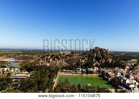 Aerial view of a Shravanabelagola town, Karnataka from the temple