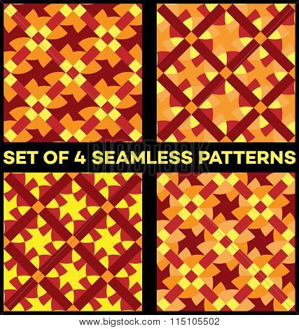 Set Of 4 Contemporary Geometric Seamless Patterns With Different Geometric Elements Of Yellow, Vinou