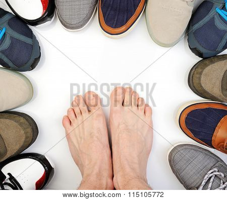 Bare Foot Around Sport Shoes