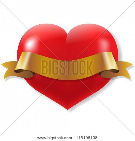 Red Heart With Ribbon With Gradient Mesh, Vector Illustration