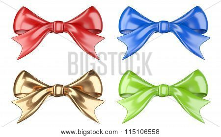 Shiny Red, Green, Blue And Golden Bow.