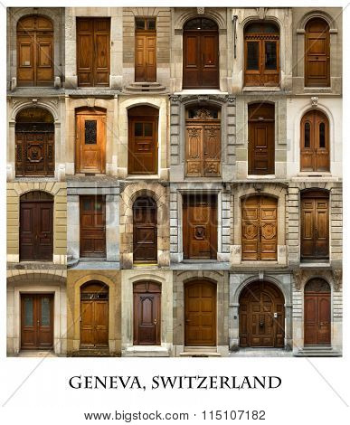 A collage of 24 wooden doors presented in a white border with the city name Geneva.