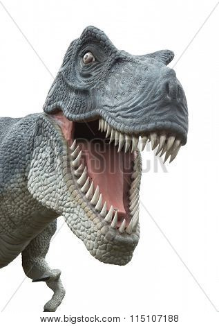 Angry T-Rex dinosaur  isolated on white
