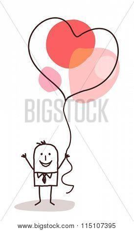 cartoon man holding up a big celebration heart balloon