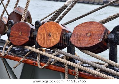 Rigging Of A Sailboat Closeup