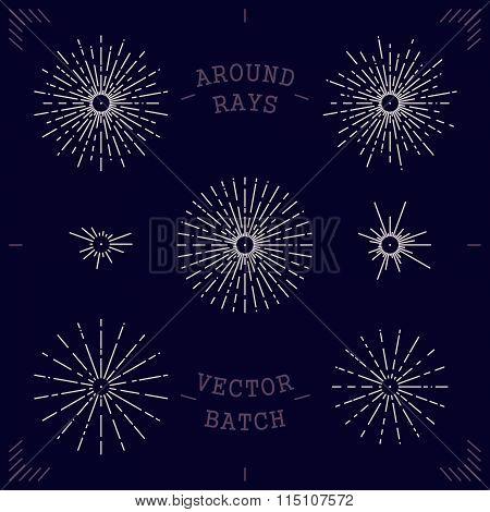 Set Vector Mono Line Style Rays Around