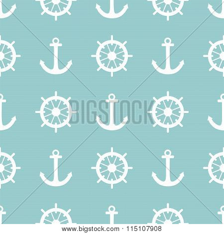 Tile sailor vector pattern with white rudder and anchor on blue background