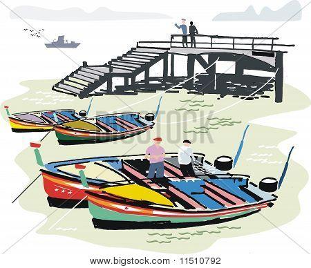Portuguese fishing boats illustration