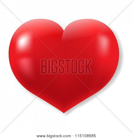 Red Hearts Symbol With Gradient Mesh, Vector Illustration