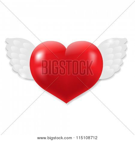 Heart With Wings With Gradient Mesh, Vector Illustration