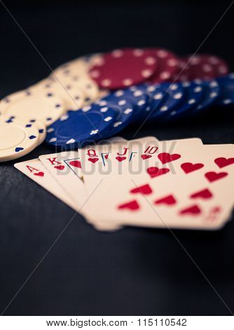 Royal Flush And Poker Chips, Split Toning, Retro Look.