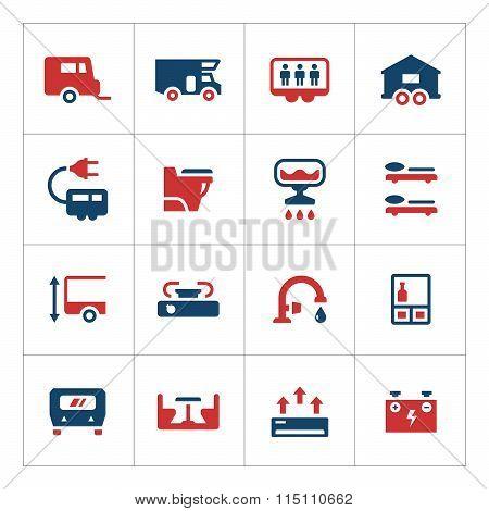 Set color icons of camper, caravan, trailer