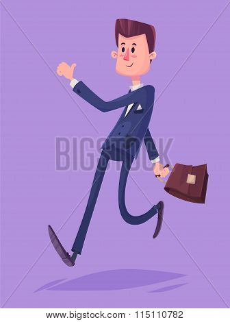 Funny business man character. Isolated vector illustration.