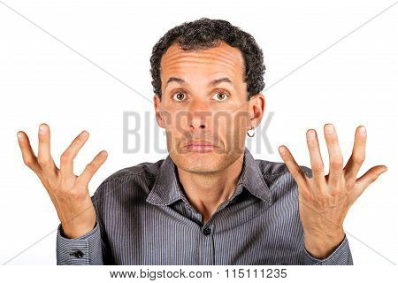 confused man giving I don't know gesture