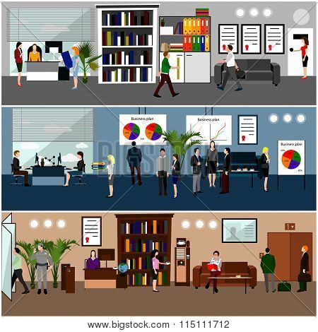 Flat design of business people or office workers. Presentation and meeting. Office interior.