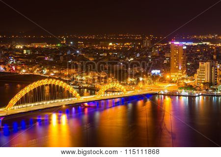DANANG, VIETNAM, JANUARY 26: Danang city at night on January 26, 2016 in Danang, Vietnam. Danang is a big city in middle of Vietnam