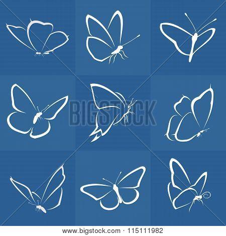Vector nine butterflies