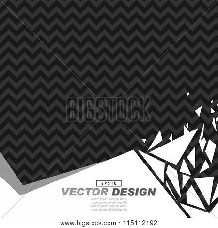 black and gray zigzag pattern background on white footer broken glass effect