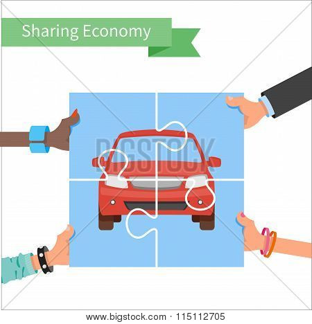 Car share concept. Sharing economy and collaborative consumption vector Illustration. Hands holding