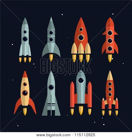 Space rockets vector icons set in flat style. Exploration and business start up launch concept. Isol