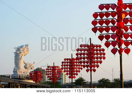 Love bridge near Dragon River Bridge ( Rong Bridge) in sunset in Da Nang, Vietnam.